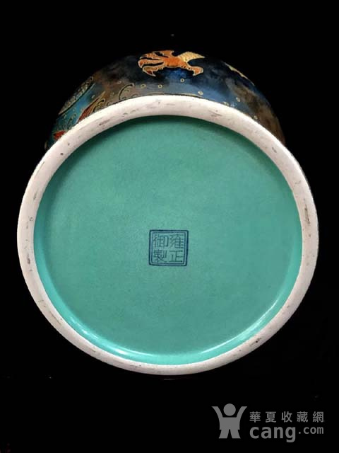 精品本金祭蓝釉矾红描金鱼跃龙门纹双耳瓶一对图9