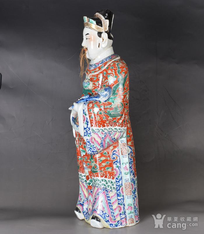晚清 巨型 粉彩禄星瓷塑图3