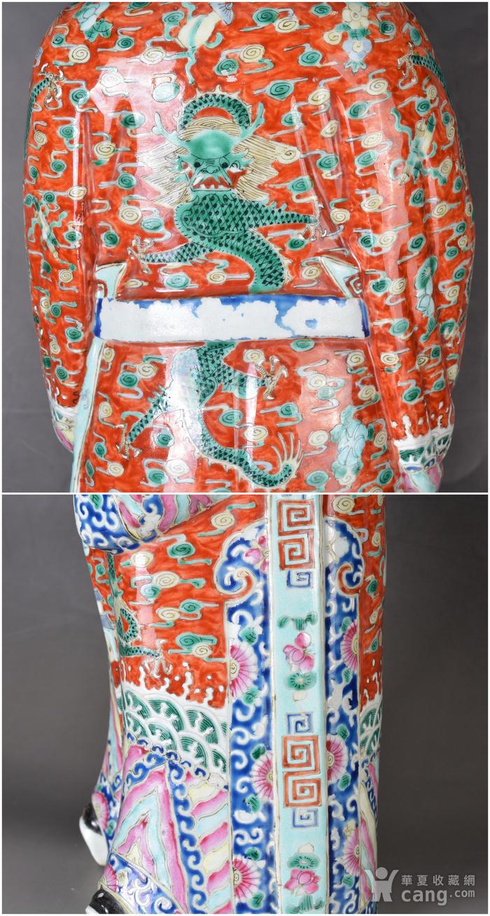 晚清 巨型 粉彩禄星瓷塑图9