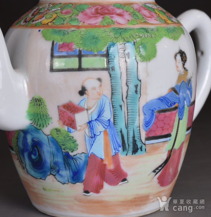 晚清 广彩 人物 茶壶图8