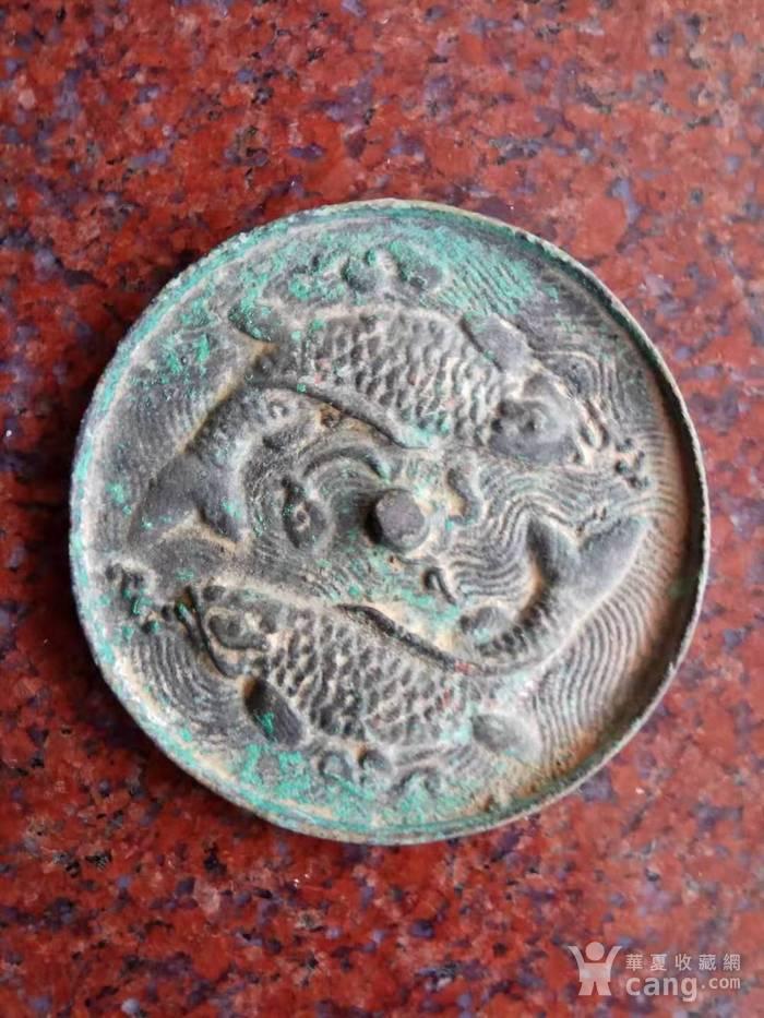 旧藏双鱼铜镜一件图2