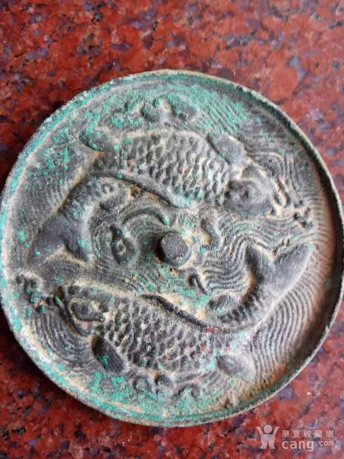 旧藏双鱼铜镜一件图4