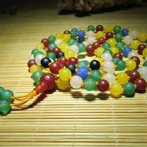 有些年头 天然 多彩戈壁玛瑙 108粒 挂链念珠 颗颗