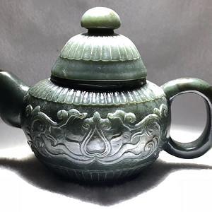 清代 和田碧玉 痕都斯坦 花草茶壶 手工錾刻 工艺非常好十分