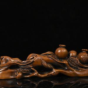 联盟 旧藏小叶黄杨木雕石榴笔架摆件