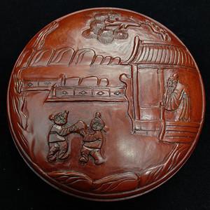 联盟 旧藏小叶黄杨木雕印泥盒