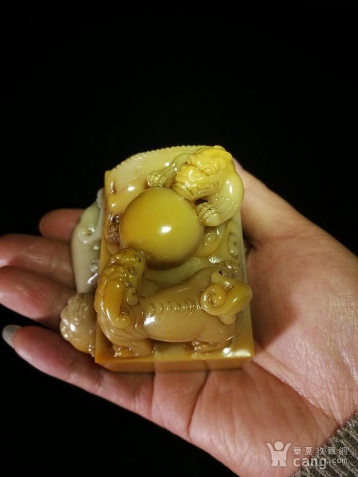 清寿山芙蓉石雕祥翁主人款三螭戏珠印章图1