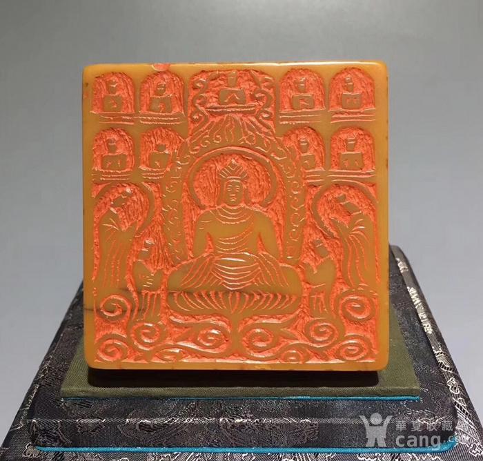 清寿山田黄石雕五龙戏珠钮大印图1