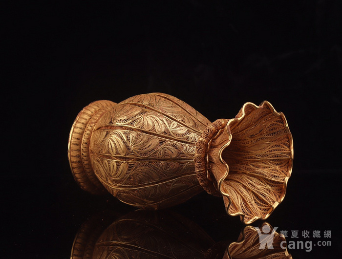 旧藏银鎏金镂空花瓶图5