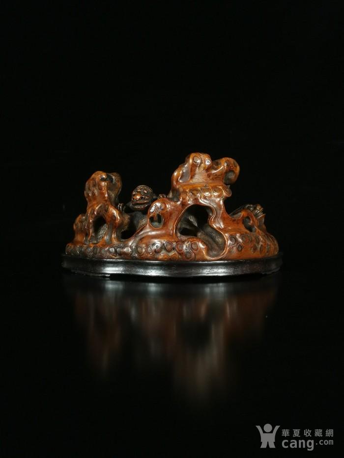 清竹雕双狮文房笔架图9