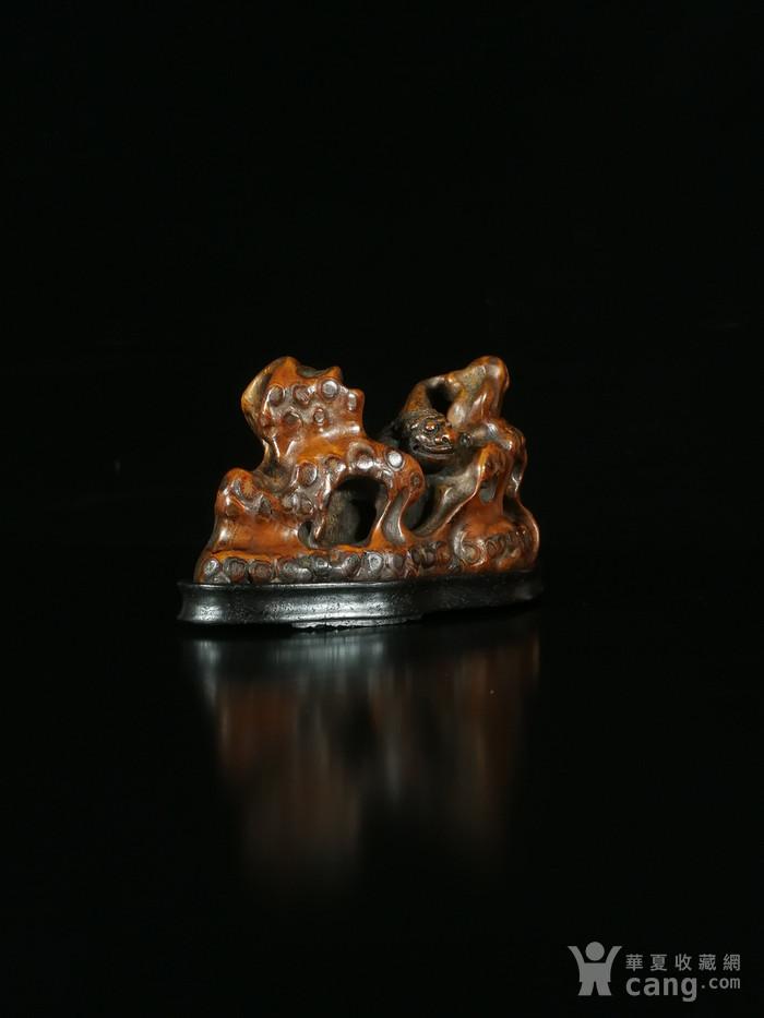 清竹雕双狮文房笔架图8