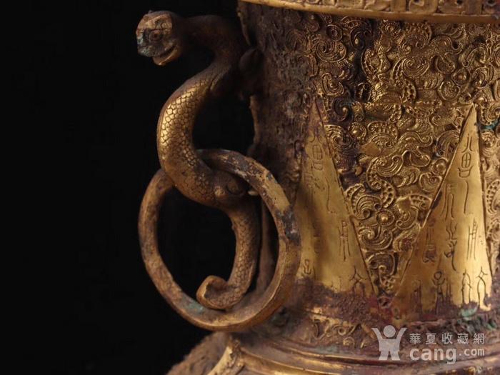 旧藏铜鎏金双耳瓶一对图4