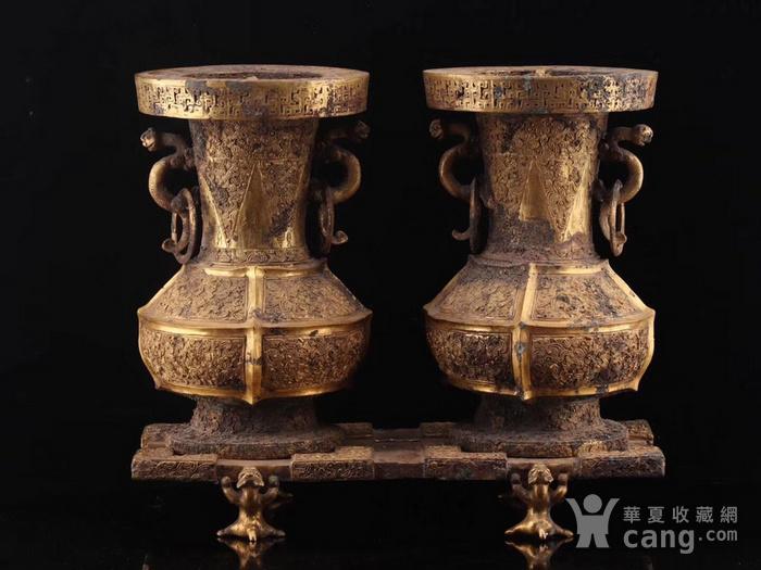 旧藏铜鎏金双耳瓶一对图9