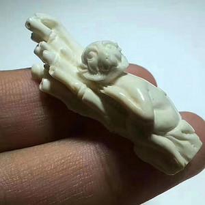 回流 精品 白料 节节高升 灵猴送财 手工 雕刻 挂件