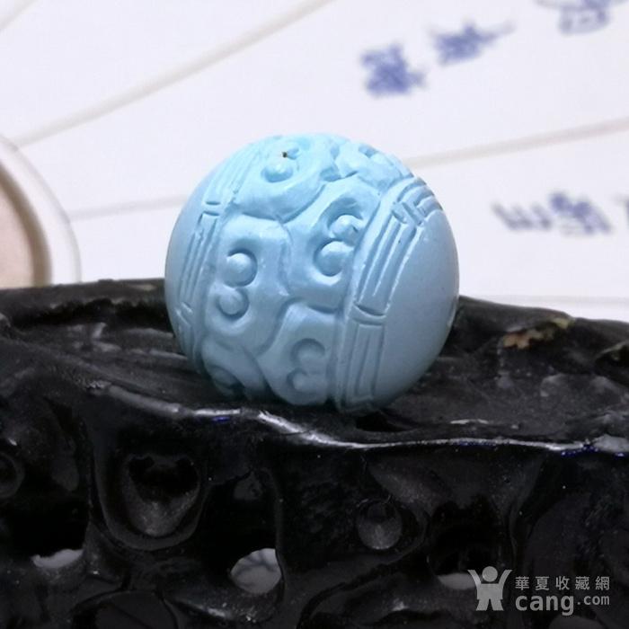 保真精品9.88克高瓷原矿松石回纹珠图1
