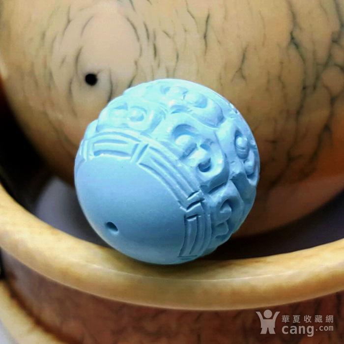 保真精品9.85克高瓷原矿松石回纹珠图2