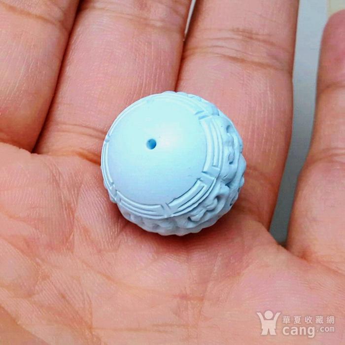 保真精品9.85克高瓷原矿松石回纹珠图6
