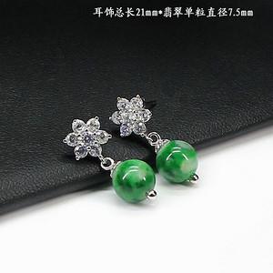 翠绿翡翠圆珠耳饰 银镶嵌1394