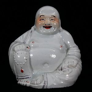 清代游龙盛造白釉弥勒佛