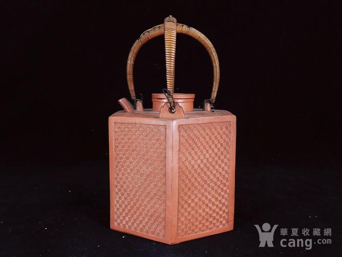 清代回纹雕刻六角紫砂套筒壶图2
