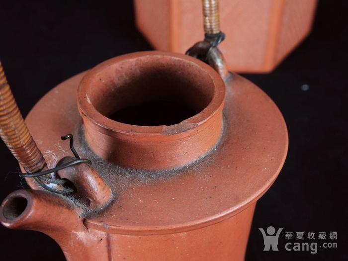 清代回纹雕刻六角紫砂套筒壶图5