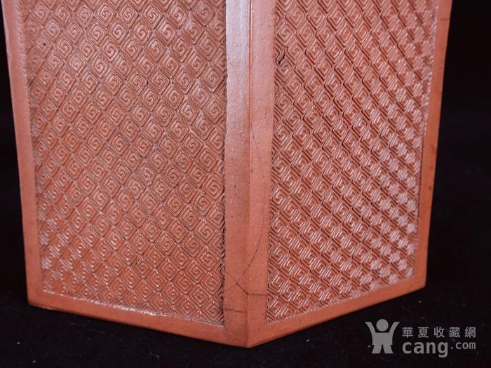 清代回纹雕刻六角紫砂套筒壶图6