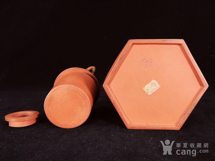 清代回纹雕刻六角紫砂套筒壶图8