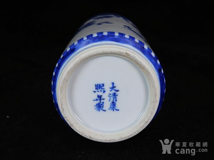 清代青花庐鸭绘画赏瓶图8