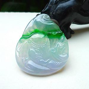 自然光实拍!天然A货好种冰种带阳绿万象起福观音挂件