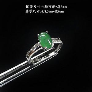 冰种翠绿翡翠戒指 银镶嵌2109