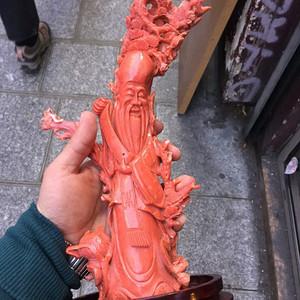重磅压轴 回流1375克台湾MOMO珊瑚寿星摆件