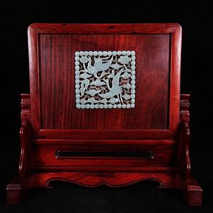 清代和田玉仙鹤雕刻红木砚屏