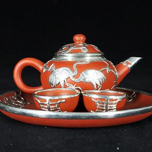 民国银包紫砂茶具一套