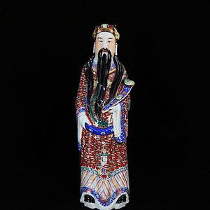 清代大号粉彩财神塑像