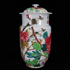 清代张子英作富贵白头绘画壮罐