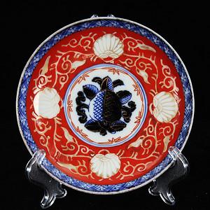 清代矾红青花描金绘画盘