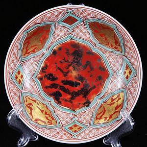 清代矾红描金鱼化龙绘画盘