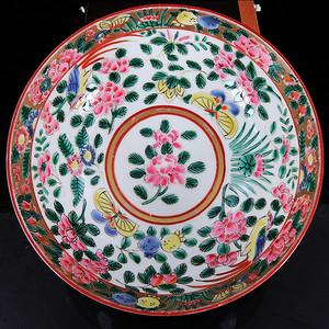 清代五彩花卉内外绘画碗