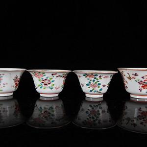 清代粉彩花卉绘画马蹄杯四个