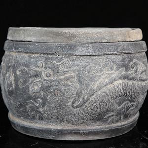 民国双龙戏珠蟋蟀罐