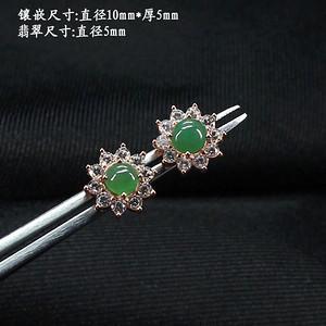 冰满绿翡翠耳饰 银镶嵌5342