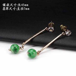 翠绿翡翠圆珠耳饰 银镶嵌1263