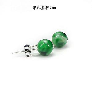 翠绿翡翠圆珠耳饰 银镶嵌1404