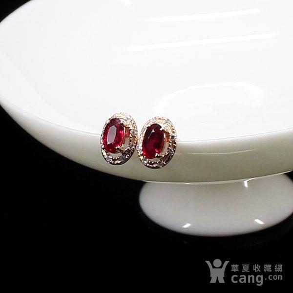 18K玫瑰金镶钻天然红宝石耳饰8043图5