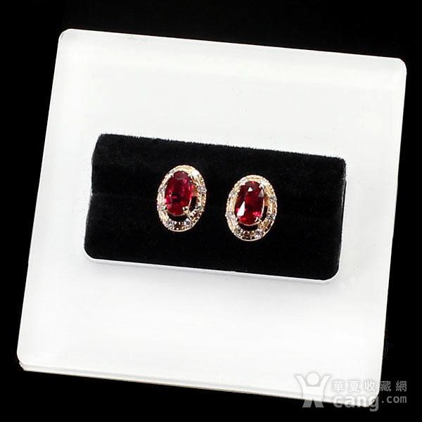 18K玫瑰金镶钻天然红宝石耳饰8043图3