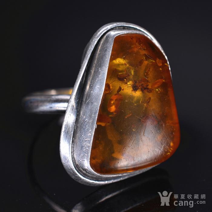 925银 天然琥珀戒指图2