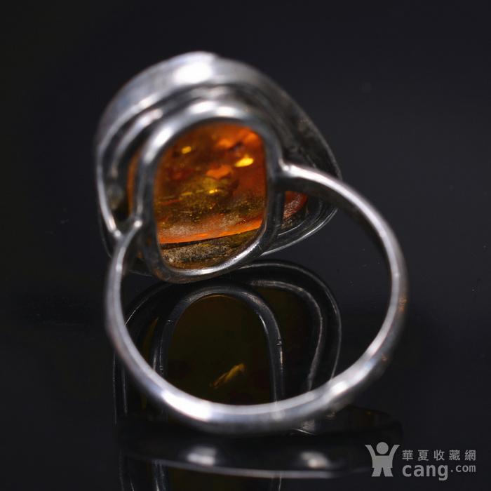 925银 天然琥珀戒指图5