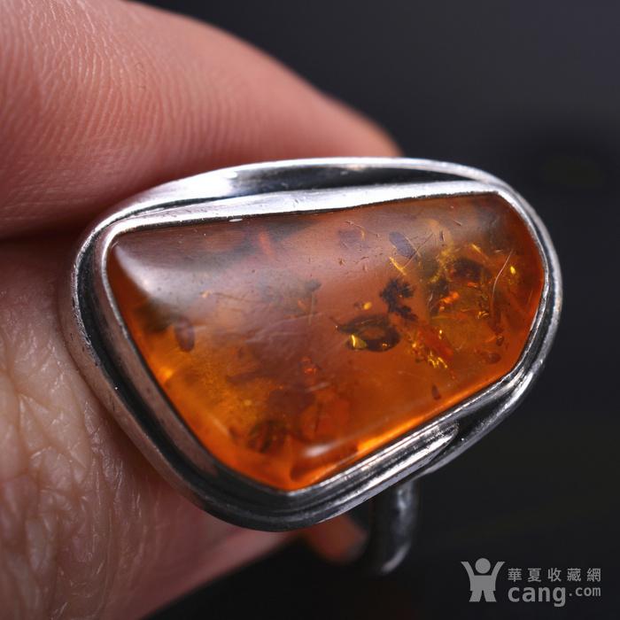 925银 天然琥珀戒指图3