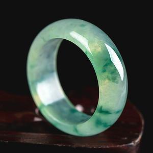 自然光实拍!天然A货好种飘绿花戒指