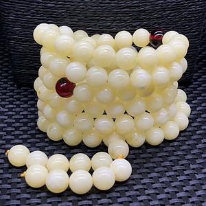 联盟 天然波罗地海白花蜜蜜蜡,圆珠多圈手链
